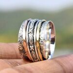 925-Sterling-Silver-Band-Brass-and-Copper-Spinner-Ring-for-Women-Textured-Ring-Anxiety-Ring-for-Meditaion-Unisex-Rin-B07R9NMF7V