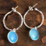 Aqua-Chalcedony-Gemstone-Sterling-Silver-Hoop-Earrings-for-Women-and-Girls-Bezel-Set-Pushback-Earrings-Aqua-Bridesmaid-B08K63K343