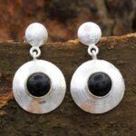Black-Onyx-Gemstone-Sterling-Silver-Dangle-Earrings-for-Women-and-Girls-Bezel-Set-Pushback-Earrings-Black-Bridesmaid-E-B08K66VS3Z-2