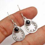 Black-Onyx-Gemstone-Sterling-Silver-Drop-Earrings-for-Women-and-Girls-Bezel-Set-Ear-Wire-Earrings-Black-Bridesmaid-Ear-B08K619H87