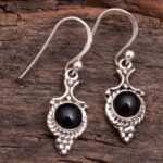 Black-Onyx-Gemstone-Sterling-Silver-Drop-Earrings-for-Women-and-Girls-Bezel-Set-Ear-Wire-Earrings-Black-Bridesmaid-Ear-B08K63JW9W-2