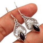 Black-Onyx-Gemstone-Sterling-Silver-Drop-Earrings-for-Women-and-Girls-Bezel-Set-Ear-Wire-Earrings-Black-Bridesmaid-Ear-B08K65DWTQ