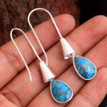 Blue-Copper-Turquoise-Gemstone-Sterling-Silver-Boho-Drop-Earrings-for-Women-and-Girls-Bezel-Set-Fishhook-Earrings-Blue-B08K62ZK2K