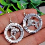 Blue-Topaz-Gemstone-Sterling-Silver-Fish-Drop-Earrings-for-Women-and-Girls-Bezel-Set-Ear-Wire-Earrings-Blue-Bridesmaid-B08K62JP17
