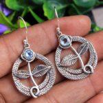 Blue-Topaz-Gemstone-Sterling-Silver-Leaf-Dangle-Earrings-for-Women-and-Girls-Bezel-Set-Ear-Wire-Earrings-Blue-Bridesma-B08K5YNTKF-2