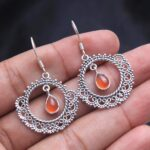 Carnelian-Gemstone-Sterling-Silver-Boho-Dangle-Earrings-for-Women-and-Girls-Bezel-Set-Ear-Wire-Earrings-Orange-Bridesm-B08K5Y7WYG