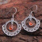 Carnelian-Gemstone-Sterling-Silver-Boho-Dangle-Earrings-for-Women-and-Girls-Bezel-Set-Ear-Wire-Earrings-Orange-Bridesm-B08K5Y7WYG-2