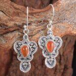 Carnelian-Gemstone-Sterling-Silver-Boho-Dangle-Earrings-for-Women-and-Girls-Bezel-Set-Ear-Wire-Earrings-Orange-Bridesm-B08K61G3YP