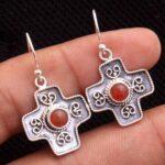 Carnelian-Gemstone-Sterling-Silver-Cross-Dangle-Earrings-for-Women-and-Girls-Bezel-Set-Ear-Wire-Earrings-Orange-Brides-B08K5ZFQJ2