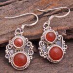 Carnelian-Gemstone-Sterling-Silver-Dangle-Earrings-for-Women-and-Girls-Bezel-Set-Ear-Wire-Earrings-Orange-Bridesmaid-E-B08K61J2TK-2