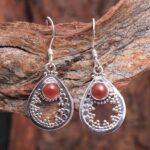 Carnelian-Gemstone-Sterling-Silver-Drop-Earrings-for-Women-and-Girls-Bezel-Set-Ear-Wire-Earrings-Orange-Bridesmaid-Ear-B08K63MDSZ