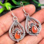 Carnelian-Gemstone-Sterling-Silver-Drop-Earrings-for-Women-and-Girls-Bezel-Set-Ear-Wire-Earrings-Red-Bridesmaid-Earrin-B08K63ZDL4