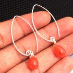Carnelian-Gemstone-Sterling-Silver-Drop-Earrings-for-Women-and-Girls-Bezel-Set-Fishhook-Earrings-Orange-Bridesmaid-Ear-B08K65JN9F-2