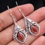 Carnelian-Gemstone-Sterling-Silver-Filigree-Drop-Earrings-for-Women-and-Girls-Bezel-Set-Ear-Wire-Earrings-Orange-Bride-B08K64PD5H