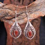 Carnelian-Gemstone-Sterling-Silver-Filigree-Drop-Earrings-for-Women-and-Girls-Bezel-Set-Ear-Wire-Earrings-Orange-Bride-B08K64PD5H-2