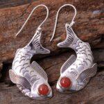 Carnelian-Gemstone-Sterling-Silver-Fish-Drop-Earrings-for-Women-and-Girls-Bezel-Set-Ear-Wire-Earrings-Orange-Bridesmai-B08K5Z8CXG-2