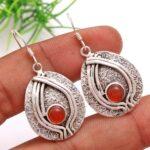 Carnelian-Gemstone-Sterling-Silver-Textured-Drop-Earrings-for-Women-and-Girls-Bezel-Set-Ear-Wire-Earrings-Orange-Bride-B08K618NCT-2