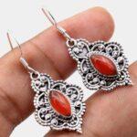 Carnelian-Gemstone-Sterling-Silver-Vintage-Dangle-Earrings-for-Women-and-Girls-Bezel-Set-Ear-Wire-Earrings-Orange-Brid-B08K62JQ88