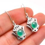 Chalcedony-Gemstone-Sterling-Silver-Designer-Dangle-Earrings-for-Women-and-Girls-Bezel-Set-Ear-Wire-Earrings-Green-Bri-B08K5ZWB3T