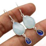 Chalcedony-Gemstone-Sterling-Silver-Drop-Earrings-for-Women-and-Girls-Bezel-Set-Ear-Wire-Earrings-Blue-Bridesmaid-Earr-B08K61T13T-2