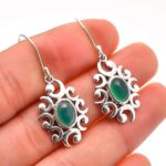 Chalcedony-Gemstone-Sterling-Silver-Drop-Earrings-for-Women-and-Girls-Bezel-Set-Ear-Wire-Earrings-Green-Bridesmaid-Ear-B08K612ZVC