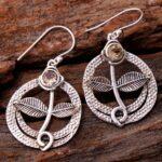Citrine-Gemstone-Sterling-Silver-Leaf-Drop-Earrings-for-Women-and-Girls-Bezel-Set-Ear-Wire-Earrings-Yellow-Bridesmaid-B08K6195Y8-2