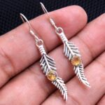 Citrine-Gemstone-Sterling-Silver-Leaf-Drop-Earrings-for-Women-and-Girls-Bezel-Set-Ear-Wire-Earrings-Yellow-Bridesmaid-B08K61CD6S