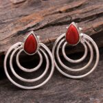 Coral-Gemstone-Sterling-Silver-Swirl-Dangle-Earrings-for-Women-and-Girls-Bezel-Set-Pushback-Earrings-Red-Bridesmaid-Ea-B08K61K9NK