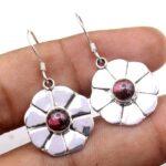 Garnet-Gemstone-Sterling-Silver-Dangle-Earrings-for-Women-and-Girls-Bezel-Set-Ear-Wire-Earrings-Red-Bridesmaid-Earring-B08K65BJW7
