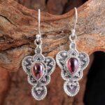Garnet-Gemstone-Sterling-Silver-Drop-Earrings-for-Women-and-Girls-Bezel-Set-Ear-Wire-Earrings-Red-Bridesmaid-Earrings-B08K6212WN