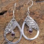 Garnet-Gemstone-Sterling-Silver-Drop-Earrings-for-Women-and-Girls-Bezel-Set-Ear-Wire-Earrings-Red-Bridesmaid-Earrings-B08K62CL82-2