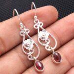 Garnet-Gemstone-Sterling-Silver-Drop-Earrings-for-Women-and-Girls-Bezel-Set-Ear-Wire-Earrings-Red-Bridesmaid-Earrings-B08K62Q3T9-2