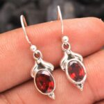 Garnet-Gemstone-Sterling-Silver-Drop-Earrings-for-Women-and-Girls-Bezel-Set-Ear-Wire-Earrings-Red-Bridesmaid-Earrings-B08K64S7LX-2