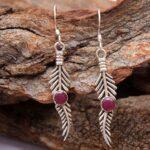 Garnet-Gemstone-Sterling-Silver-Leaf-Drop-Earrings-for-Women-and-Girls-Bezel-Set-Ear-Wire-Earrings-Red-Bridesmaid-Earr-B08K5KWMK1