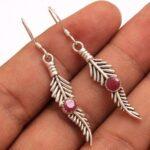 Garnet-Gemstone-Sterling-Silver-Leaf-Drop-Earrings-for-Women-and-Girls-Bezel-Set-Ear-Wire-Earrings-Red-Bridesmaid-Earr-B08K5KWMK1-2