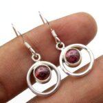 Garnet-Gemstone-Sterling-Silver-Small-Dangle-Earrings-for-Women-and-Girls-Bezel-Set-Ear-Wire-Earrings-Red-Bridesmaid-E-B08K64Y7PW