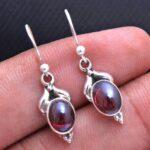 Garnet-Gemstone-Sterling-Silver-Small-Drop-Earrings-for-Women-and-Girls-Bezel-Set-Ear-Wire-Earrings-Red-Bridesmaid-Ear-B08K645VGD-2