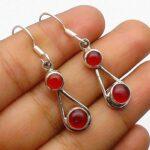 Garnet-Gemstone-Sterling-Silver-Tear-Drop-Earrings-for-Women-and-Girls-Bezel-Set-Ear-Wire-Earrings-Red-Bridesmaid-Earr-B08K6193GZ