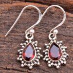 Garnet-Gemstone-Sterling-Silver-Tear-Drop-Earrings-for-Women-and-Girls-Bezel-Set-Ear-Wire-Earrings-Red-Bridesmaid-Earr-B08K624RWD