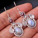 Garnet-Gemstone-Sterling-Silver-Vintage-Drop-Earrings-for-Women-and-Girls-Bezel-Set-Ear-Wire-Earrings-Red-Bridesmaid-E-B08K6598VY