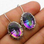 Genuine-Oval-mystic-topaz-Gemstone-Sterling-Silver-Ellipse-Dangle-Earrings-for-Women-Bezel-Set-Ear-Wire-Earrings-multi-B08HLY5943