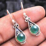 Green-Onyx-Gemstone-Sterling-Silver-Drop-Earrings-for-Women-and-Girls-Bezel-Set-Ear-Wire-Earrings-Green-Bridesmaid-Ear-B08K62CL81-2