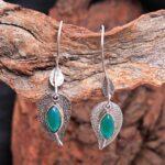 Green-Onyx-Gemstone-Sterling-Silver-Leaf-Drop-Earrings-for-Women-and-Girls-Bezel-Set-Ear-Wire-Earrings-Green-Bridesmai-B08K636F4R-2