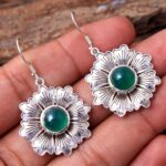Green-Onyx-Gemstone-Sterling-Silver-Textured-Flower-Drop-Earrings-for-Women-and-Girls-Bezel-Set-Ear-Wire-Earrings-Gree-B08K62FP7C