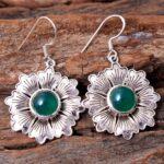 Green-Onyx-Gemstone-Sterling-Silver-Textured-Flower-Drop-Earrings-for-Women-and-Girls-Bezel-Set-Ear-Wire-Earrings-Gree-B08K62FP7C-2