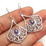 Iolite-Gemstone-Sterling-Silver-Filigree-Drop-Earrings-for-Women-and-Girls-Bezel-Set-Ear-Wire-Earrings-Blue-Bridesmaid-B08K65GMBY