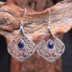 Iolite-Gemstone-Sterling-Silver-Filigree-Drop-Earrings-for-Women-and-Girls-Bezel-Set-Ear-Wire-Earrings-Blue-Bridesmaid-B08K65GMBY-2