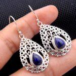Lapis-Lazuli-Gemstone-Sterling-Silver-Filigree-Drop-Earrings-for-Women-and-Girls-Bezel-Set-Ear-Wire-Earrings-Blue-Brid-B08K631HVW
