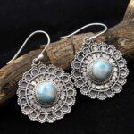Larimar-Gemstone-Sterling-Silver-Designer-Dangle-Earrings-for-Women-and-Girls-Bezel-Set-Ear-Wire-Earrings-Blue-Bridesm-B08K624XPL