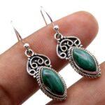 Malachite-Gemstone-Sterling-Silver-Drop-Earrings-for-Women-and-Girls-Bezel-Set-Ear-Wire-Earrings-Green-Bridesmaid-Earr-B08K642Z3Z